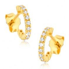 Złote kolczyki 585 - cyrkoniowe półkola, wkrętki