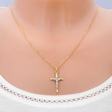 14K złota zawieszka - dwukolorowa kombinacja Chrystusa na krzyżu z rysami