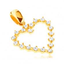 Zawieszka ze 14K złota - zębate błyszczące serduszko z cyrkoniami