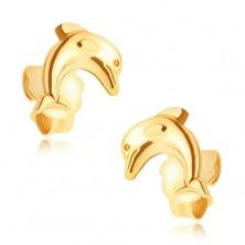 Złote kolczyki 14K - skaczący delfin