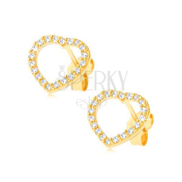 Złote kolczyki 14K - cyrkoniowa sercowa linia