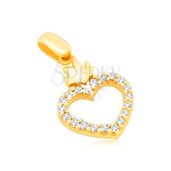 Złota zawieszka 14K - kontury serca z cyrkoniami i koroną