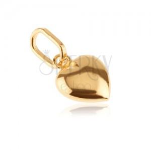 Złoty wisiorek 585 - serduszko 3D o lśniącej powierzchni z nacięciem