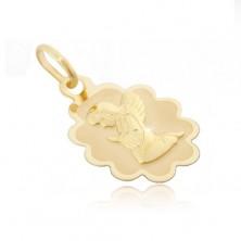 Złota zawieszka 585 - płytka z karbowaną obwódką i klęczącym aniołem