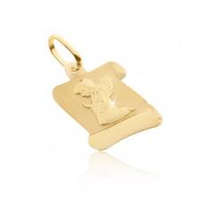 Zawieszka ze złota 585 - matowy pergamin z klęczącym aniołkiem