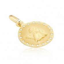 Złoty wisiorek 585 - okrągła płytka z drobnymi otworami, aniołek