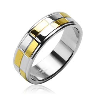 Stalowa obrączka ze złotymi i srebrnymi lśniącymi prostokątami - Rozmiar : 68