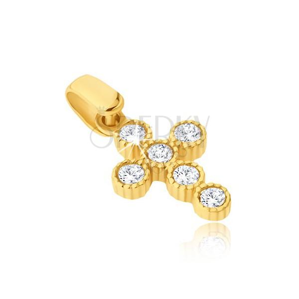 Wisiorek z żółtego złota 14K - krzyżyk z okrągłymi cyrkoniami w koszyczkach