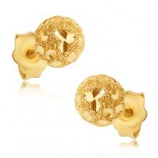 Kolczyki ze złota 585 - piaskowane kuleczki z lśniącymi ziarenkami