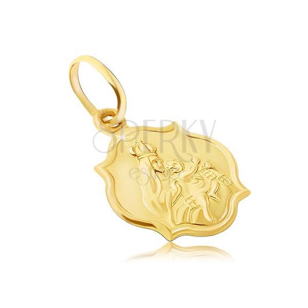 Złota zawieszka 585 - dwustronny matowy medalik z Madonną i Chrystusem