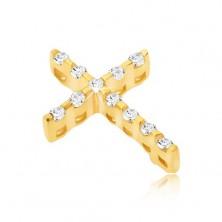 Złoty wisiorek 14K - cienki krzyżyk z cyrkonii, ukryte oczko
