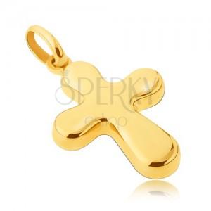 Złota zawieszka 14K - gruby, lśniący krzyż o zaoblonych ramionach