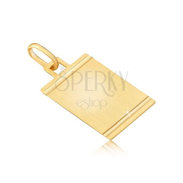 Wisiorek ze złota 585 - matowa płytka ze lśniącymi poziomymi nacięciami
