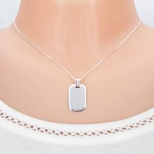 Wisiorek z białego złota 14K - lśniąca lustrzana płytka o zagiętych krawędziach