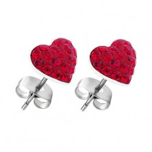Kolczyki ze srebra 925 - czerwone cyrkoniowe serca, sztyfty