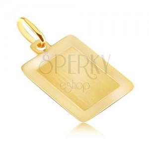 Złoty 14K wisiorek - gładka podłużna tabliczka o lśniącej ramce