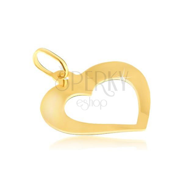 Wisiorek ze złota 14K - lustrzane lekko wygięte serduszko z wycięciem