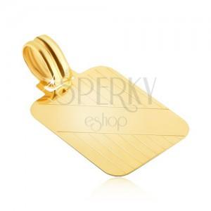 Złoty wisiorek 585 - tabliczka z pionowymi nacięciami i ukośnym gładkim pasem