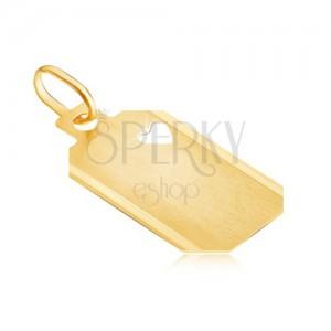 Złota zawieszka 585 - płytka z wycięciem w kształcie serduszka, matowa powierzchnia