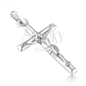 Wisiorek z białego złota 14K - gładki krzyż łaciński z wypukłym Jezusem