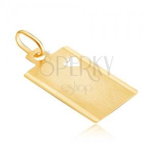 Płytka z żółtego złota - matowy prostokąt z wyciętym sercem