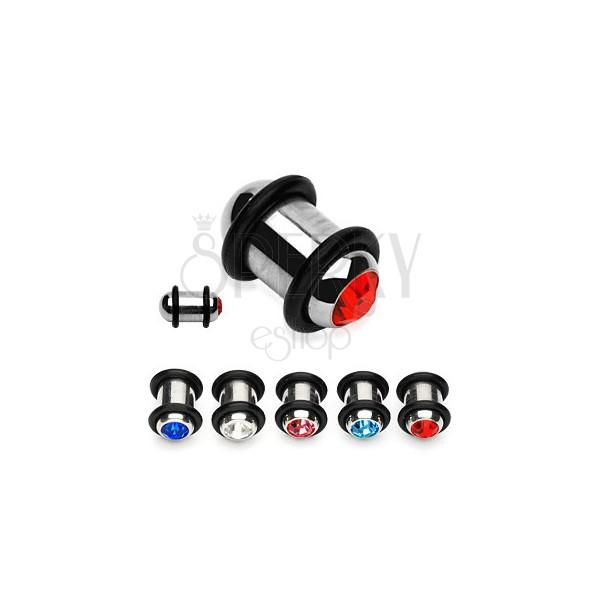 Plug do ucha ze stali z kolorową cyrkonią i dwiema gumkami