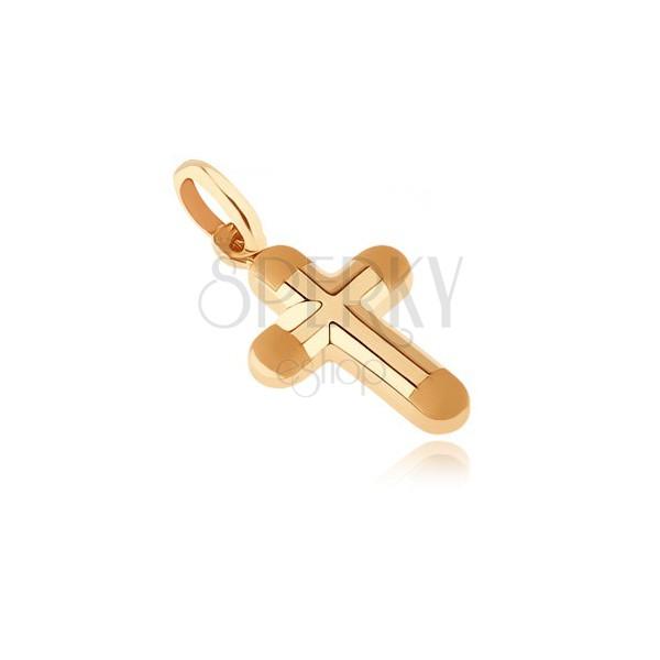 Złoty wisiorek 585 - gruby krzyżyk z matowymi okrągłymi końcami ramion