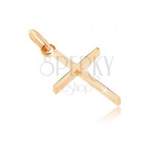 Przywieszka z żółtego złota - cienki krzyżyk o wysokich bokach