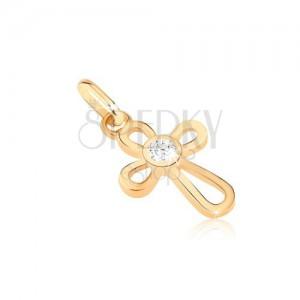 Złoty wisiorek 585 - krzyżyk z cienkich pętelek, cyrkonia pośrodku