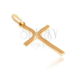 Złoty wisiorek 585 - krzyżyk z długimi matowymi łuczkami na ramionach