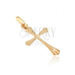 Wisiorek z 14K złota - zaokrąglone końce, krzyż, promienie