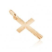 Złoty płaski wisiorek 585 - krzyż, lśniące symetryczne rowki na powierzchni