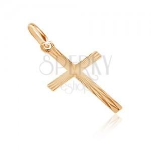 Złoty wisiorek 585 - krzyż łaciński z z lustrzanymi płytkami