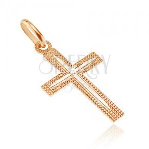 Wisiorek ze złota 14K - krzyż, karbowana powierzchnia z cienkim nacięciem na ramionach