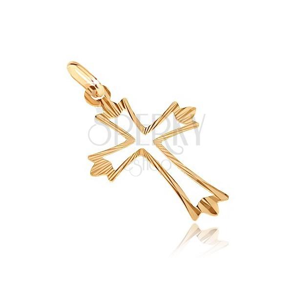 Złoty wisiorek 585 - krzyż z rozgałęzionymi promienistymi ramionami i wycięciem