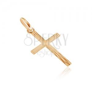 Złoty 14K wisiorek - krzyż z wąskimi ramionami, promienie