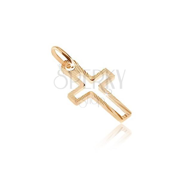 Złoty wisiorek 585 - kontury krzyża łacińskiego z lśniącymi wąskimi pasami