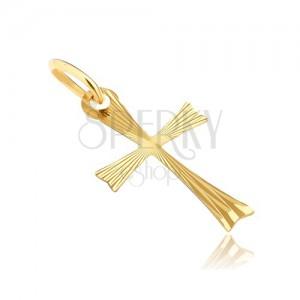 Złoty wisiorek 925 - krzyżyk z rozdwojonymi ramionami i promieniami
