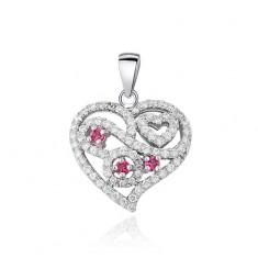 Zawieszka ze srebra 925 - serce, różowe i przeźroczyste kamyczki