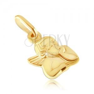 Złoty wisiorek 585 - popiersie aniołka z podpartą głową