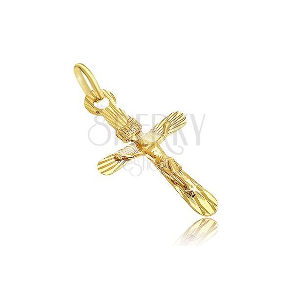 Zawieszka ze złota 14K - zaoblony krzyż z przestrzennym Jezusem