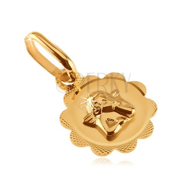 Złoty wisiorek 585 - kwiatek z wygrawerowanym wzorem i małym aniołkiem