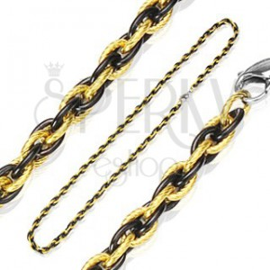 Łańcuszek ze stali chirurgicznej, przepleciony wzór, dwukolorowy