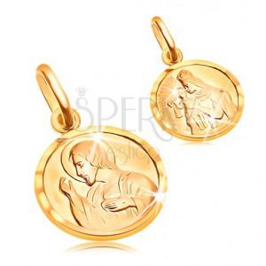 Złoty okrągły wisiorek 585 - Jezus i Matka Boska w ramce