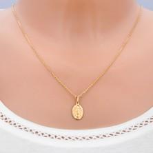 Złoty wisiorek 585 - owalna płytka z symbolami Maryi Panny