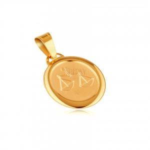 Znak zodiaku WAGA - zawieszka z żółtego 14K złota, matowy owal
