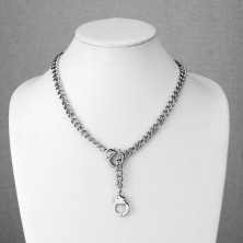 Łańcuszek ze stali chirurgicznej, srebrny kolor, małe kajdanki