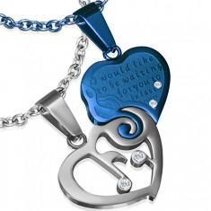 Dwuczęściowa zawieszka ze stali - srebrne i niebieskie serce