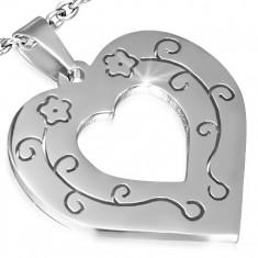 Wisiorek ze stali szlachetnej - kontur regularnego serca, ornamenty