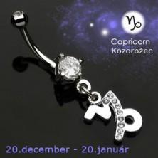 Piercing do pępka zawieszka znak zodiaku - Koziorożec